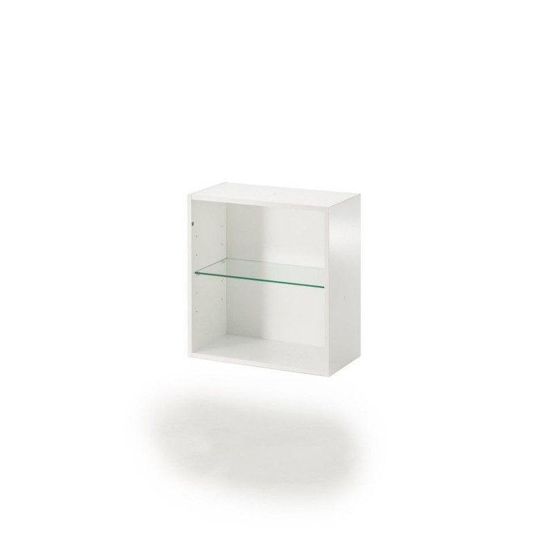 Muurame Pirkko Stenroos Neppari kirjahylly valkoinen lasihyllyllä